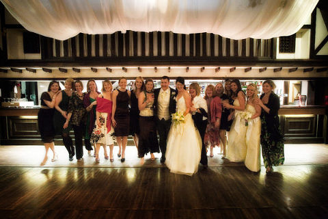 Wedding at Rivington Hall Barn, bride and groom with the hens