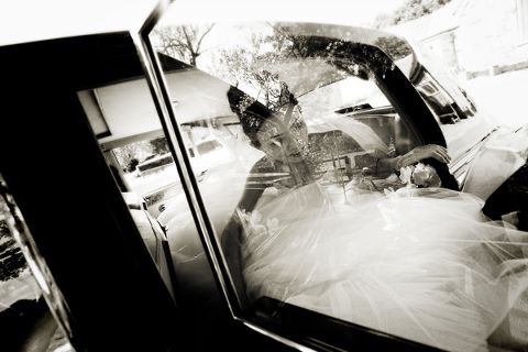 bride, wedding, car