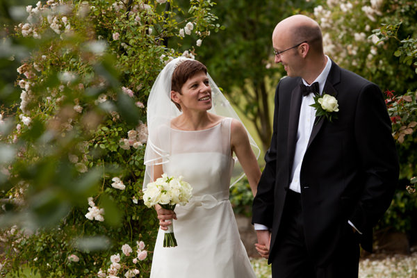 bride and groom in Wood Hall gardens