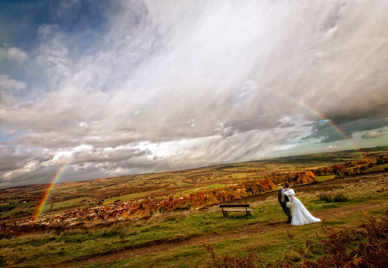 wedding, photograph, Ilkley Moor, Cow and Calf rocks, rainbow