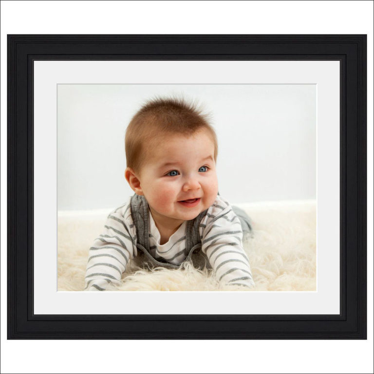 black framed baby photo boy