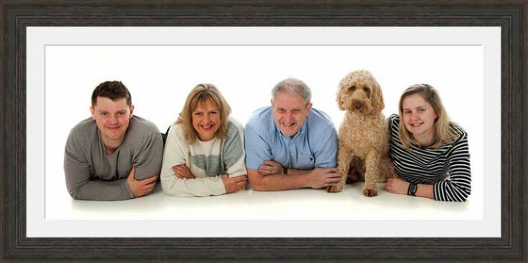 Pet portrait with family, in studio